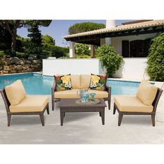 TK Classics Manhattan 5 Piece Seating Group with Cushion Fabric: Sesame