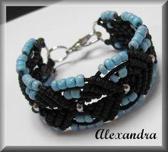 Micro Macrame Bracelet - Sky Blue and Black Micro Macrame, Macrame Bracelets, Sky, Handmade, Blue, Jewelry, Heaven, Jewellery Making, Heavens