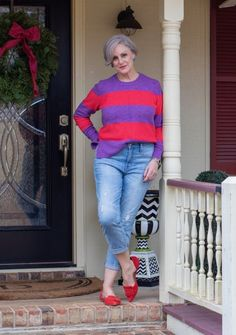 Today's outfit is all about spring! bold, saturated hues of lavender and carnation pink stripes really amp up this spring color combo – a fun take on the usual pastels. Bright Shoes, 50 And Fabulous, Spring Fashion, Women's Fashion, Fashion Styles, Striped Tee, Capsule Wardrobe, Pretty Outfits, Family Meals