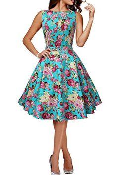 Vestido Vintage Años 50 Turquesa - estampado Flores Rosas, primavera verano