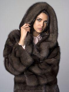 Russian Barguzine Sable Fur Hooded Coat
