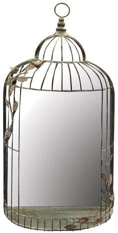"Bird Cage Wall Mirror Height: 33"" - 84cm Width: 17"" - 43cm Depth: 4.5"" - 12cm"