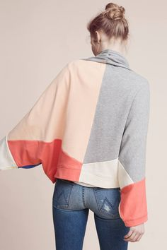 Slide View: 1: Patchwork Sweatshirt Kimono