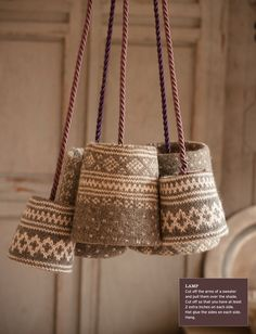 Recycled sweater lampshades.