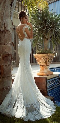 #OpenBack #WeddingDress http://www.illusionbridals.com/a-line-strapless-chapel-train-9427/