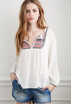 Tribal Pattern Embroidered Peasant Top | Forever 21 - 2000052608