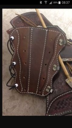 Leather Armor, Leather Cuffs, Leather Tooling, Leather Bracelets, Archery Accessories, Leather Accessories, Arm Guard, Archery Bows, Bow Hunting