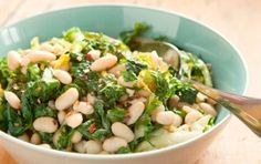 Sauteed Greens with White Beans and Garlic recipe.  This dish can be made with a mix of your favorite greens such as spinach, mustard greens, curly endive, escarole, kale, and broccoli rabe.