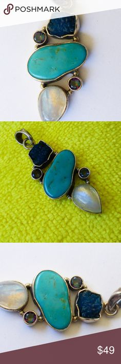 Sterling silver Moonstone turquoise druzy pendant Lovely vintage artisan pendant crafted of hallmarked sterling silver. This pendant is large. It features natural moonstone, turquoise, a druzy crystal and rainbow stones that I believe are mystic topaz. Very pretty! Light patina and minor wear. Excellent secondhand condition. Jewelry Necklaces