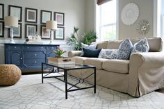 Sherwin Williams Analytical Gray shown in living room with neutral beige and blue home decor by Thrify Decor Chick