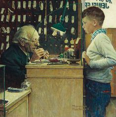 Norman Rockwell Makes It Tick? (The Watchmaker)signed 'Norman/Rockwell' (lower right)oil on ¼ x 26 in. x 66 cm. Norman Rockwell Prints, Norman Rockwell Paintings, Peintures Norman Rockwell, American Artists, Belle Photo, Vintage Art, Illustrators, Photos, Fine Art