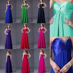 Bridesmaid Evening Party Prom Wedding Long Dress Formal Ball Gowns 2-16