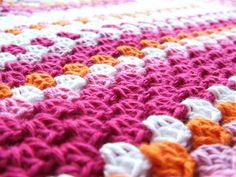 Great colors for a girl baby blanket.