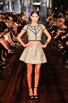 Boucle Crop Top ($130) and Boucle Skirt ($150) perfect together teamed up with our Carrie Heel ($160) on the runway! Xx