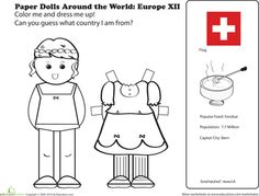 Worksheets: Paper Dolls Around the World: Europe XII