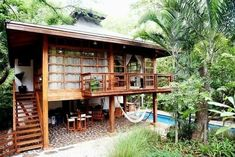 47 Amazing Tropical House Design For You > Fieltro. Bamboo House Design, Wooden House Design, Tropical House Design, Tiny House Design, Tropical Houses, Wooden Houses, Thai House, Rest House, Tiny House Living