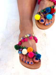 Hippie Chic Sandals Pom Pom sandals Colorful leather by DelosArt
