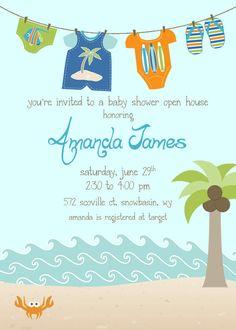 Beach Baby Shower Invitation Boy Clothesline by WhitePlumInk