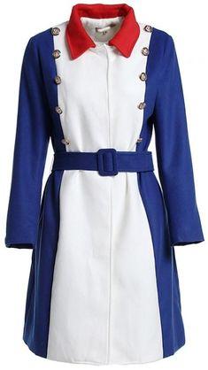 Color-Block Button-Embellished Coat