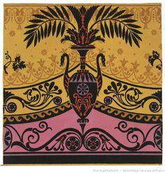Jacquemart et Bénard papier peint - 1803 Motif Art Deco, Art Deco Pattern, Print Patterns, Islamic Art Pattern, Decoupage, Floral Ribbon, Copper Art, Japanese Embroidery, Japanese Prints