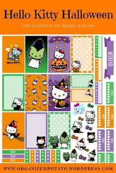 Free Printable Hello Kitty Halloween Planner Stickers from Organized Potato