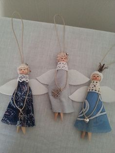 Wooden Peg Doll Angel Set of 3 Angels by Floristo4ka on Etsy