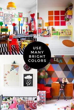 I am a little bit totally in love with the colourful triangle/geometric wall...me thinks a mini version for my mini people is in order!