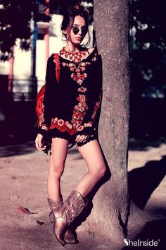 #SheInside Black Long Sleeve Embroidery Tribal Print Dress - Sheinside.com