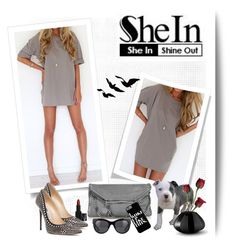 """shein contest:grey dress"" by nevenadj ❤ liked on Polyvore featuring STELLA McCARTNEY, NARS Cosmetics, Jimmy Choo, Simon Pearce and Georg Jensen"