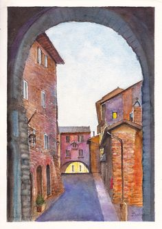Two stone arches over a narrow street in Assisi, Umbria, Italy.  Ink and watercolour painting by Dai Wynn on 300 gsm medium surface texture Arches french cotton paper.  29.5 cm high by 21 cm wide (11.75 inches by 8.25 inches) approximately - A4 standard size.  Unframed. Check on availability of purchase at http://www.daiwynn.com/artist/assisi-street-umbria/