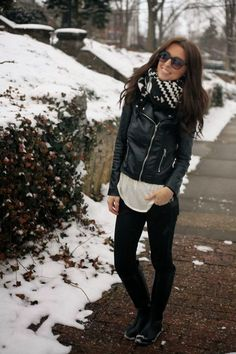 Black Leather Jacket With Aztec Cardigan and Long Boots