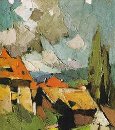 ۩۩ Painting the Town ۩۩ city, town, village & house art - Frederic Fiebig. Abstract Landscape, Landscape Paintings, Abstract Art, Weird Drawings, Frederic, Palette Knife Painting, Post Impressionism, Wassily Kandinsky, Oeuvre D'art