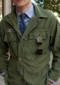 altered military coat / double breasted jacket