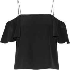 Fendi Off-the-shoulder silk crepe de chine top (44.950 RUB) ❤ liked on Polyvore featuring tops, black, silk ruffle top, off the shoulder ruffle top, silk top, ruffle top and flutter-sleeve top