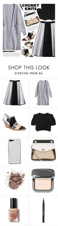 """Get Cozy: Chunky Knits"" by beebeely-look ❤ liked on Polyvore featuring Jeffrey Campbell, Bobbi Brown Cosmetics, Stila, StreetStyle, cardigans, streetwear, zaful and chankyknits"