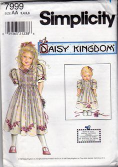 Simplicity Sewing Pattern, Daisy Kingdom, Girls Sizes 3,4,5,6, Dress and Matching 18 Inch Doll Clothes Pattern, Simplicity 7999, Uncut by OnceUponAnHeirloom on Etsy
