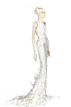 The ivory crystal beaded and embroidered Chantilly lace halter gown by Carmen Marc Valvo. [Courtesy Photo]