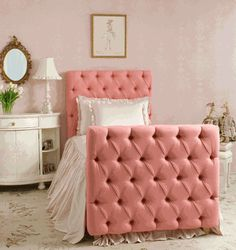 Pink upholstered diamond tufted bed with headboard and footboard- for little girls room Girls Bedroom, Bedroom Decor, Pink Bedrooms, Bedroom Ideas, Little Girl Beds, Chic Nursery, Upholstered Beds, Tufted Bed, Princess Room
