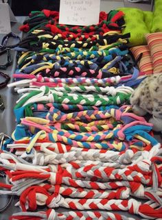 Inspiration~Old tshirts become tug toys #recycle #dogs - *instead of the ropes that they pull apart!
