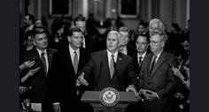 Vice President-elect Mike Pence addresses reporters alongside Senate leadership during a visit to Capitol Hill on Jan. 4. John Shinkle/POLITICO