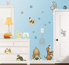 Cute puppies for the wall http://www.muralsforkids.com/products/Kids-Pets-Wall-Stickers.html