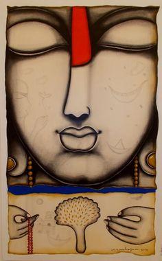 Arvind Mahajan Buddha Buddhism, Buddha Art, Indian Folk Art, Indian Artist, Indian Contemporary Art, Contemporary Paintings, Indian Art Paintings, Acrylic Paintings, Spiritual Images