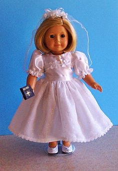 American Girl Doll Clothes - Communion Dress Set with Embroidered Chiffon Skirt Includes Shoes, Jewelry and Bible - 18 Inch Doll Clothes