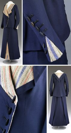 "Tailored walking costume, Woolland Bros. (retailers), ca. 1910. Navy wool gabardine, blanket-weave wool, lined with silk, boned. Hip-length, straight-cut coat with wide beige & colored stripe blanket-weave wool collar that drops to ""V"" in back. Godets inset into cuffs & skirt hem. Fastens with silk-covered toggles. Coat lined with beige silk. Skirt is cut straight & trimmed with row of buttons. Wide, boned waistband fastens with hooks & eyes and snaps. Victoria & Albert Museum"