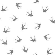 Designer Selection Swallows Wallpaper Charocal / White - Designer Selection from I love wallpaper UK