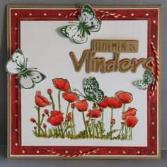 Marianne Design  CS0927 vlinders en klaprozen (stempel) CR1313 bloemen en vlinders (craftable) PB7027 Rose's are Red (pretty Papers Bloc)