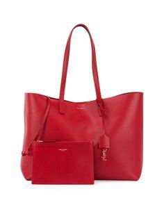 V2RDZ Saint Laurent Large Shopping Tote Bag w/ Painted Edges, Red/Black