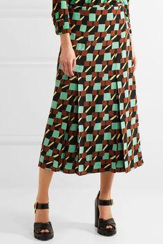 Prada - Printed Silk Crepe De Chine Wrap Skirt - Turquoise - IT42
