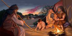 Un siervo de Dios de edad avanzada que se ha mantenido fiel habla con una familia joven en tiempos antes de Cristo