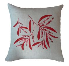 Linen Cushion Cover Screen Printed Linen Cushion Cover Hand Printed Pillow Cover Red&Natural Australian Wattle http://etsy.me/2i8jKVq #housewares #pillow #red #linen #living #floral #beige #square #coveronly